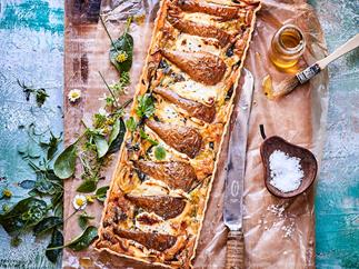 Roasted pear, leek and goat's cheese tart