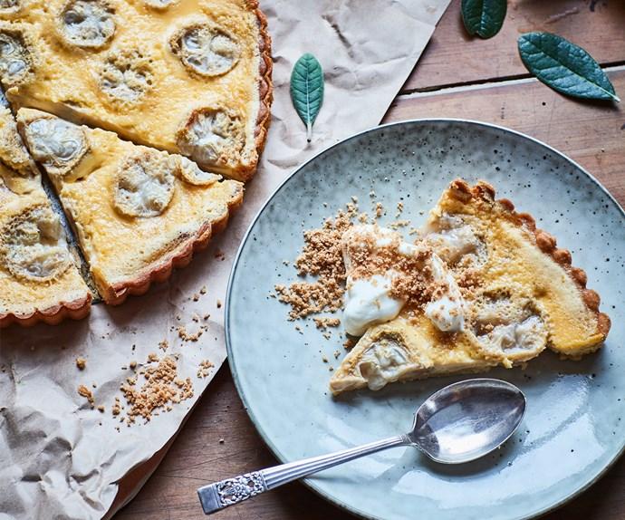 Feijoa custard tart