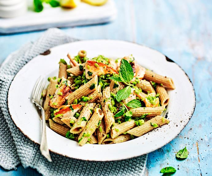 Pasta with salmon and minty pea pesto