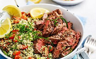 Lamb leg steaks with tabbouleh
