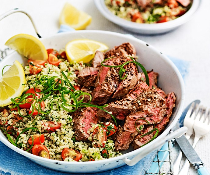 Lamb leg steaks with tabbouleh
