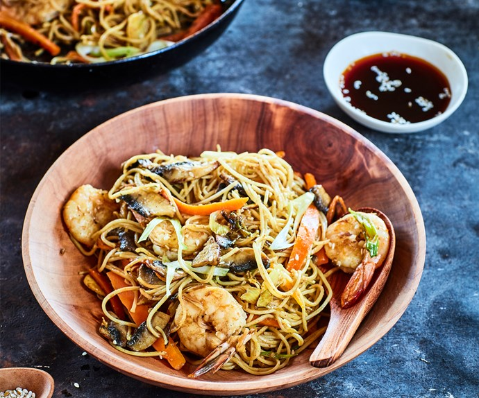 Prawn and ginger noodles for one