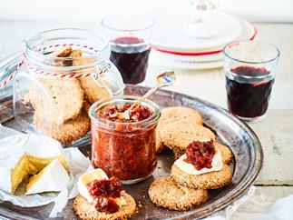Tamarillo chutney with walnut digestives