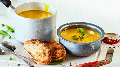 Creamy turmeric, basil and buttercup soup