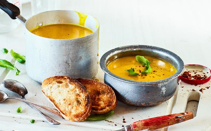 Creamy turmeric, basil and buttercup soup