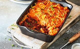 Lamb and red wine shepherd's pie with creamy kumara topping