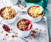 Rhubarb-berry crumbles with ricotta cream