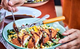 Chicken katsu with corn and bok choy brown rice salad