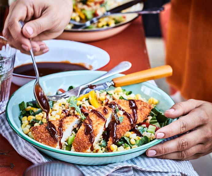 Chicken katsu with corn and bok choy brown rice salad