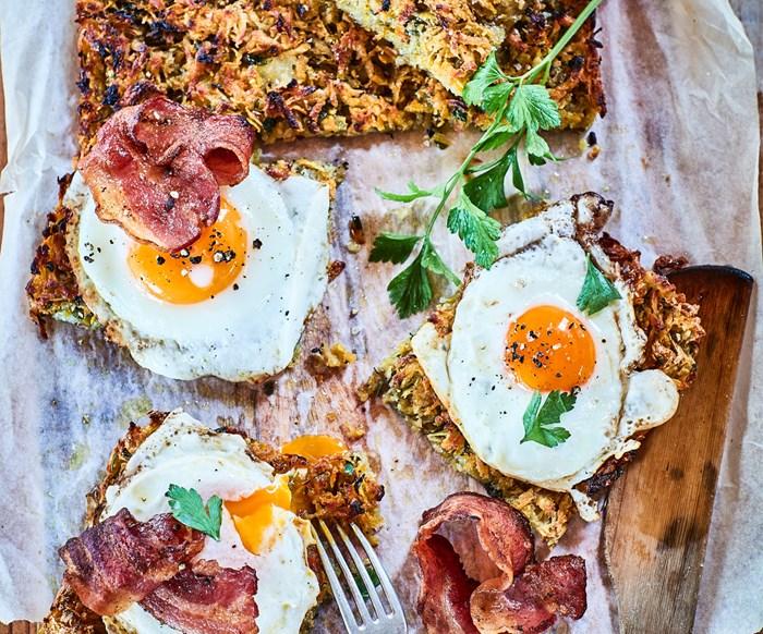 Sweet potato hash brown with eggs