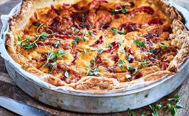 Cheesy tomato and mustard tart
