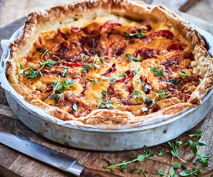 Cheesy tomato and mustard tart