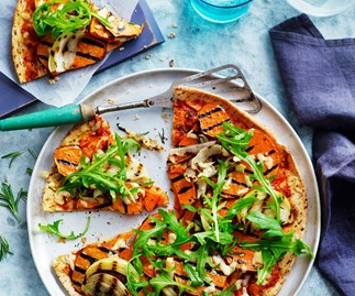 Kumara and onion pizza