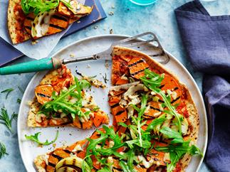 Kumara and onion pizza