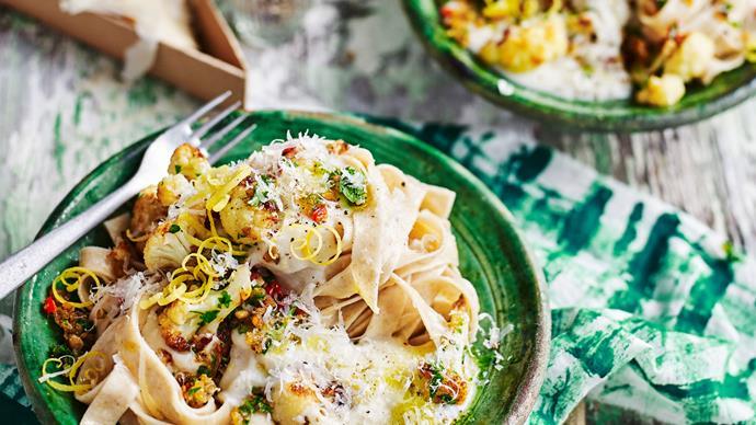 Spelt pasta with silky cauliflower sauce