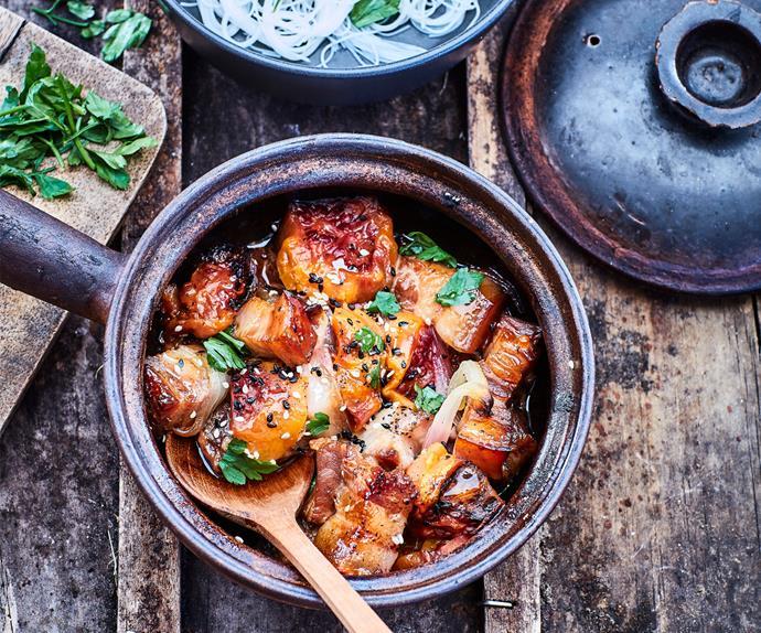 Sesame pork with tamarillo and ginger chutney