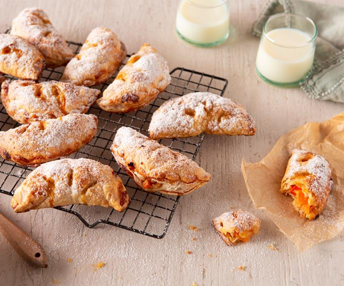 Persimmon, pineapple and white chocolate hand pies