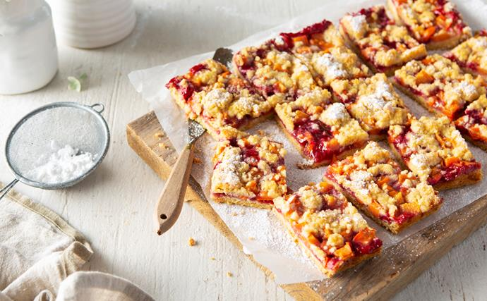 Persimmon, raspberry and ginger slice