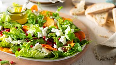 Persimmon, pomegranate and poppy seed salad