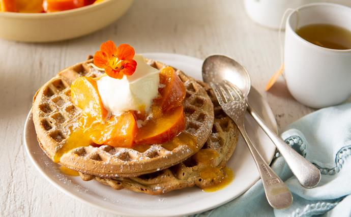 Spiced poached persimmons with gingerbread waffles