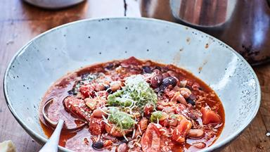 Bean, tomato and chorizo soup