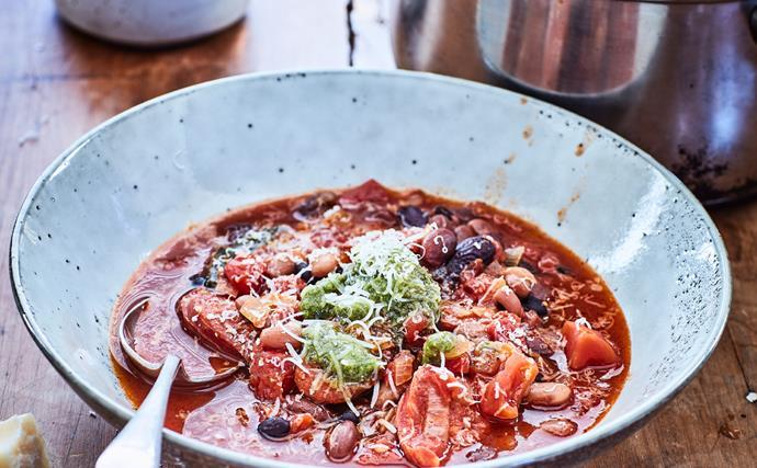 Bean, tomato and chorizo soup
