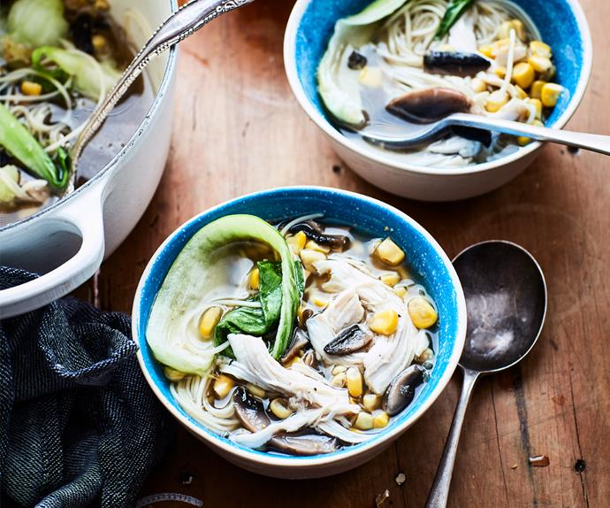 Chicken, corn and mushroom noodle soup