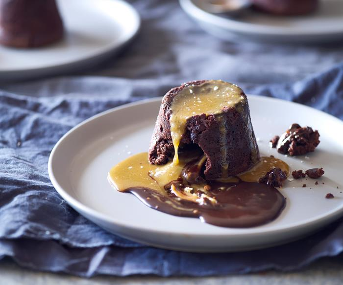 Chocolate toffee molten puddings with salted caramel sauce