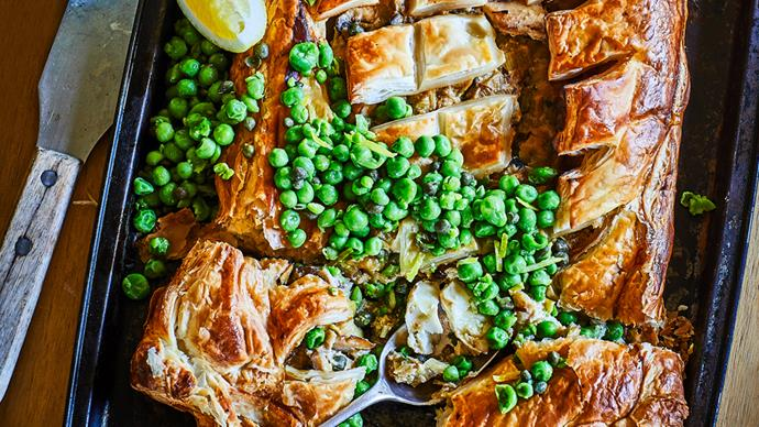 Fish and leek pie with caper parsley peas