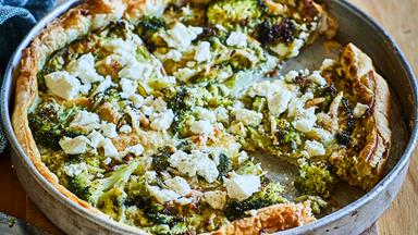 Broccoli and three cheese pie