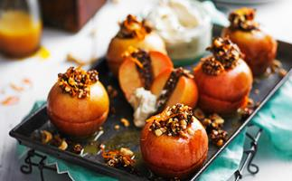 Cinnamon and fig baked apples with mandarin maple sauce