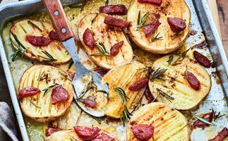 Rosemary potatoes and chorizo