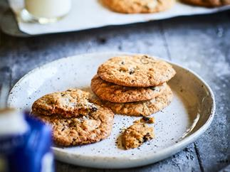 Oat raisin choc biscuits