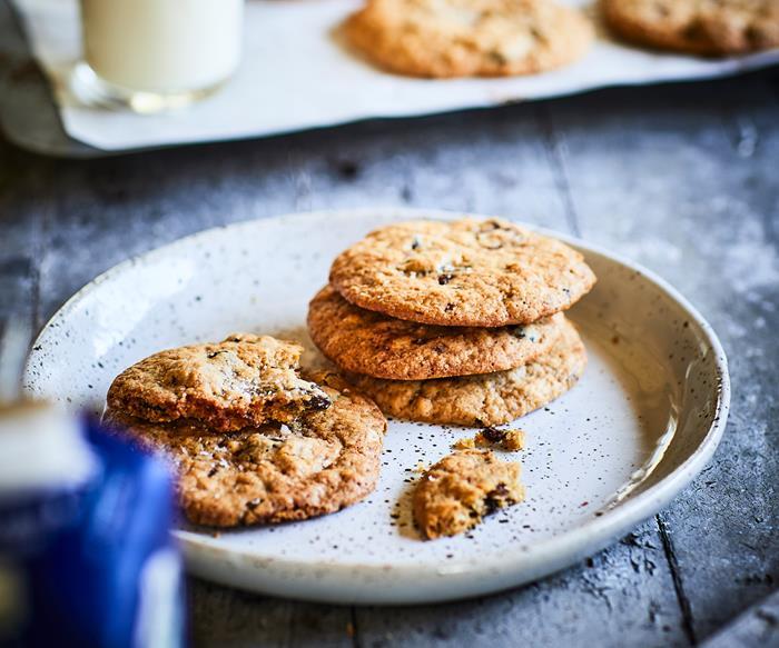 Oat raisin choc biscuits