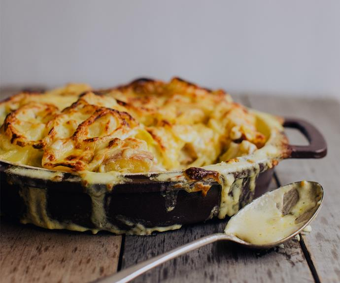 Potato, mustard and cheddar bake