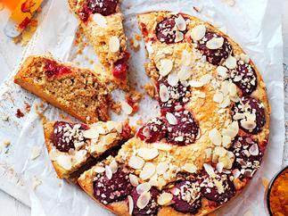 Oat and plum tea cake