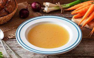 bone broth with carrots and onion