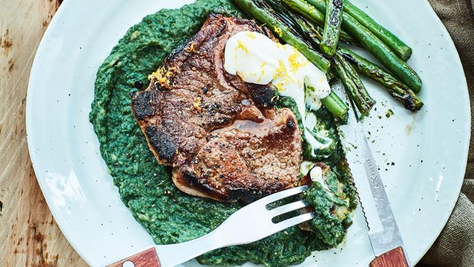 Lamb chop with spinach bean purée