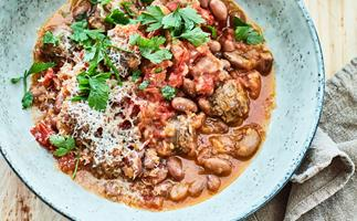 Mum's sausage and beans