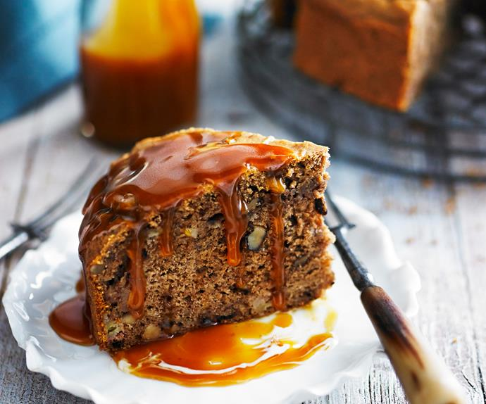 Banana and coffee cake with caramel sauce