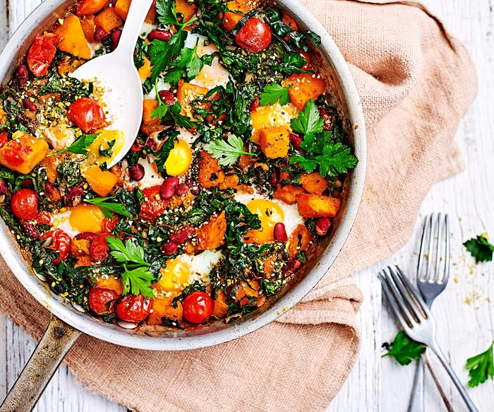 Baked pumpkin, tomato and egg skillet