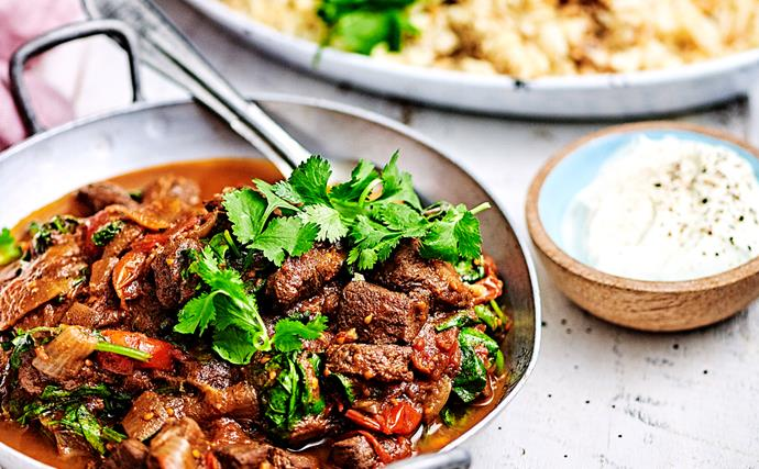 Fast lamb curry with sticky chickpea and cauliflower rice