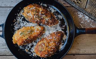 Pecorino, black pepper and sage-crusted chicken breast