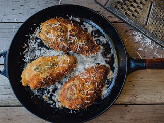 Pecorino, black pepper and sage-crusted chicken breast