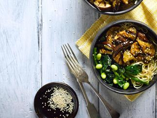 Ginger and miso eggplant with noodles