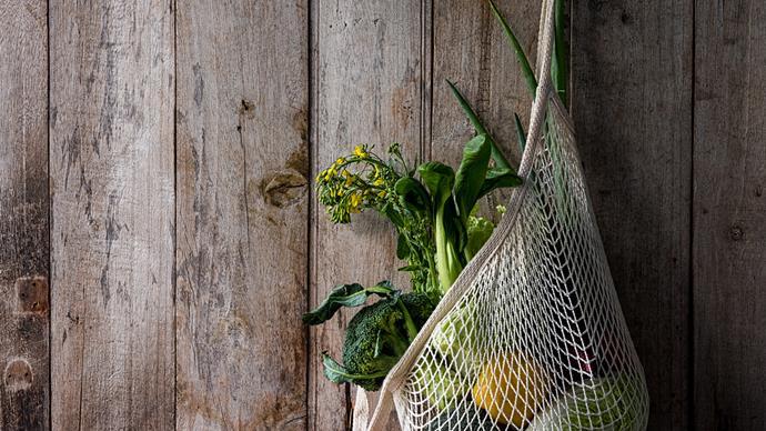 reusable cotton produce bag hanging on wall