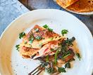 Ham, mushroom and spinach crêpe