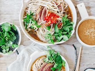 Rare beef noodle hot pot