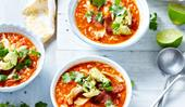 Spanish chicken, chorizo and rice soup