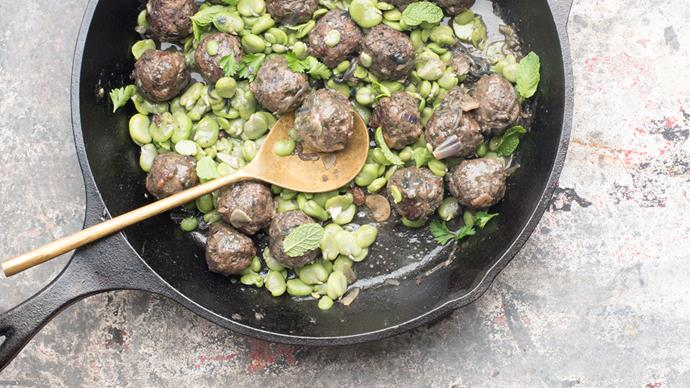 Lamb meatballs with broad beans